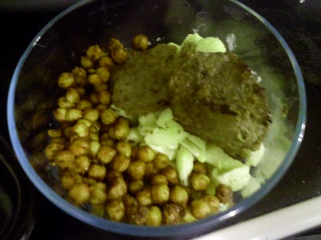 Spicy sauteed chick peas with meatballs and cole slaw, by S.