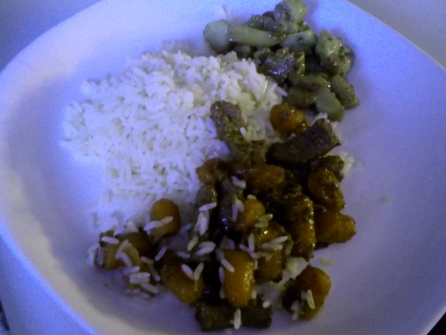 Stir-fried pork, onions and beans, white rice and broccoli, by S.